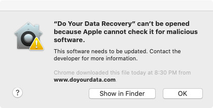 Software can't be Opened because Apple Cannot check it for malicious software