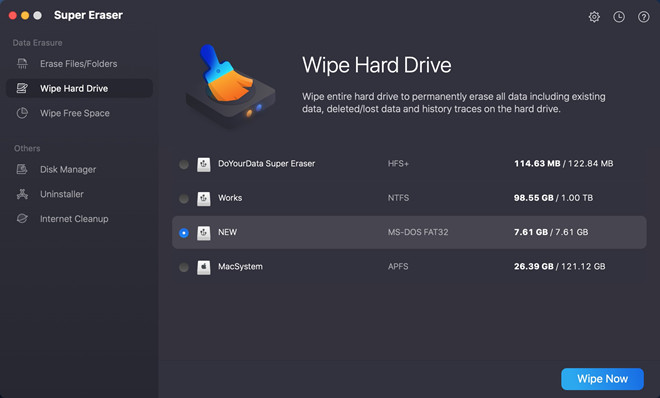 wipe Western Digital, Seagate external hard drive on Mac
